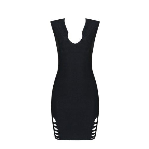 Sexy Black Deep V Lace Up Hem Bandage Dress KL1157 3