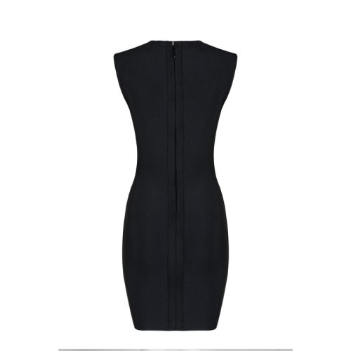 Sexy Black Deep V Lace Up Hem Bandage Dress KL1157 4 1