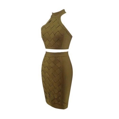 Stripe Cross Backless Bandage Dress Two Piece Set KL1227 8