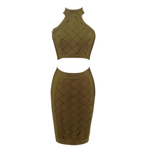 Stripe Cross Backless Bandage Dress Two Piece Set KL1227 9