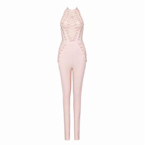 Studded Lace Up Bandage Jumpsuit K057 11