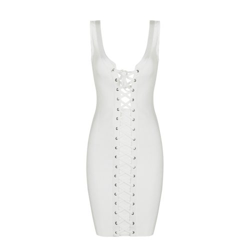 Lace up Deep V Neck Bandage Dress K072 9