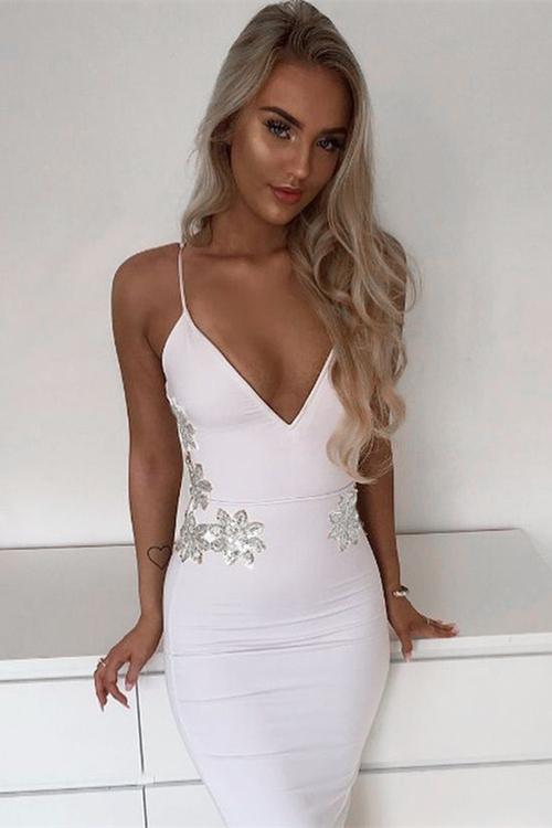 Strap V Neck Flower Sequined Bandage Dress K077 12
