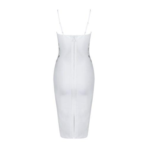 Strap V Neck Flower Sequined Bandage Dress K077 4