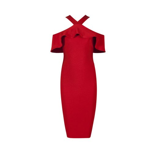 V Neck Strap Flounce Bandage Dress K068 9