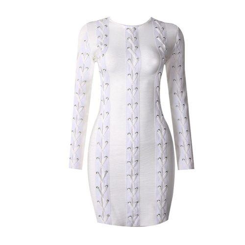 White Lace up Long Sleeve Bandage Dress K071 5