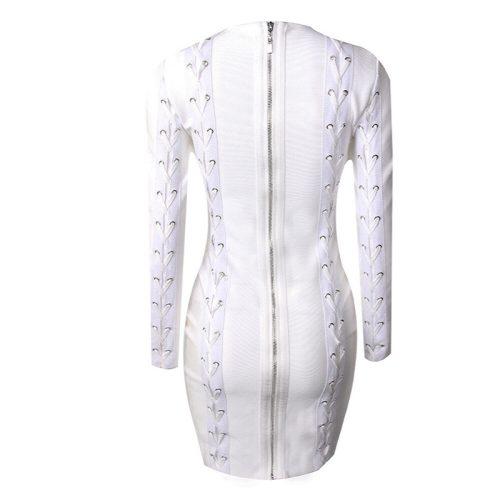 White Lace up Long Sleeve Bandage Dress K071 6