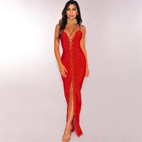 Strap Beaded Long Bandage Dress K080 13