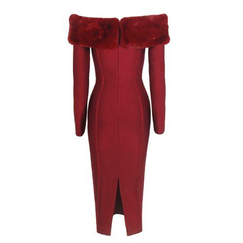 Artificial Wool Strapless Long Sleeve Bandage Dress K100 1