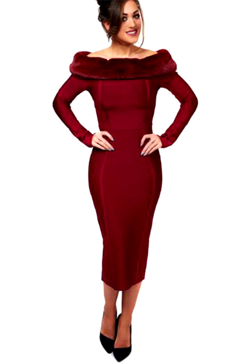 Artificial Wool Strapless Long Sleeve Bandage Dress K100 14 副本