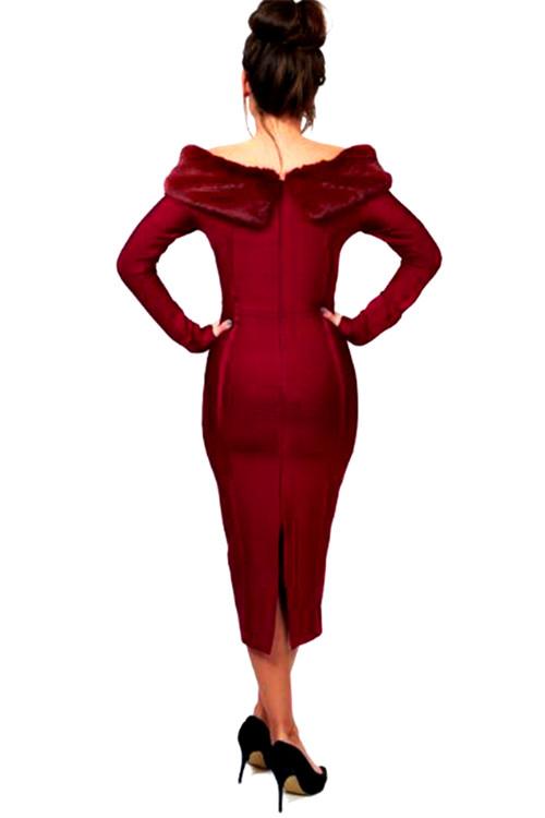 Artificial Wool Strapless Long Sleeve Bandage Dress K100 6 副本