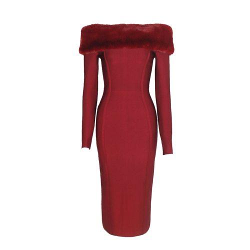Artificial Wool Strapless Long Sleeve Bandage Dress K100 7