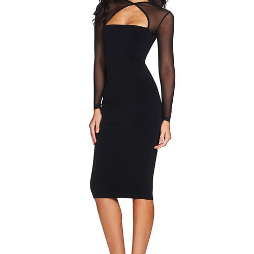 Hollow Out Mesh Sleeve Bandage Dress K101 1 副本