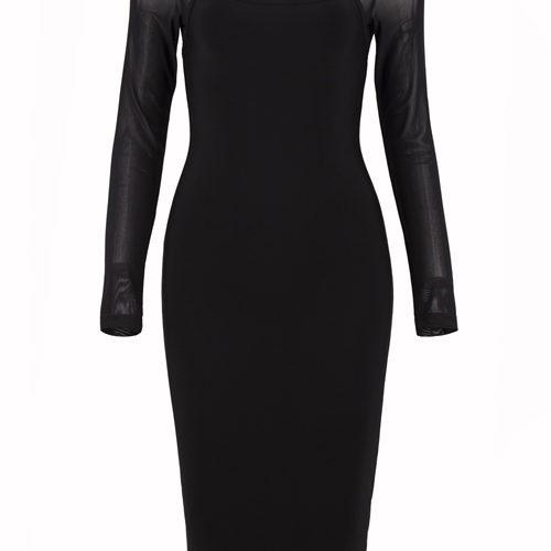 Hollow Out Mesh Sleeve Bandage Dress K101 3