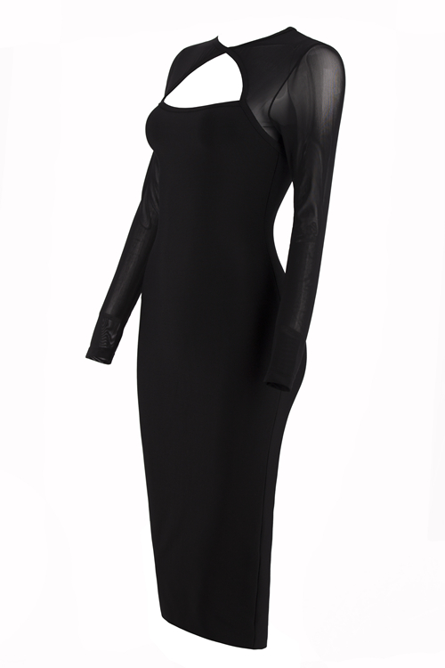 Hollow Out Mesh Sleeve Bandage Dress K101 7