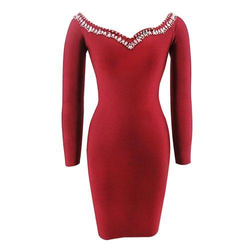 Off The Shoulder Beadded Long Sleeve Bandage Dress K092 2