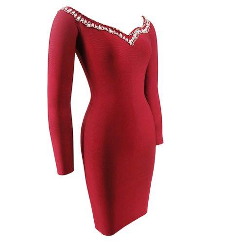 Off The Shoulder Beadded Long Sleeve Bandage Dress K092 6