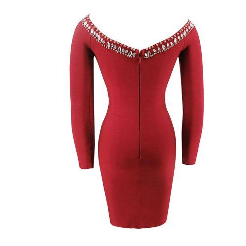 Off The Shoulder Beadded Long Sleeve Bandage Dress K092 7