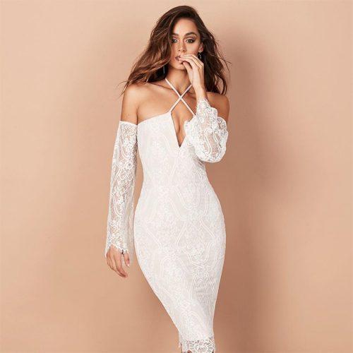 Off The Shoulder Lace Bandage Dress K102 25
