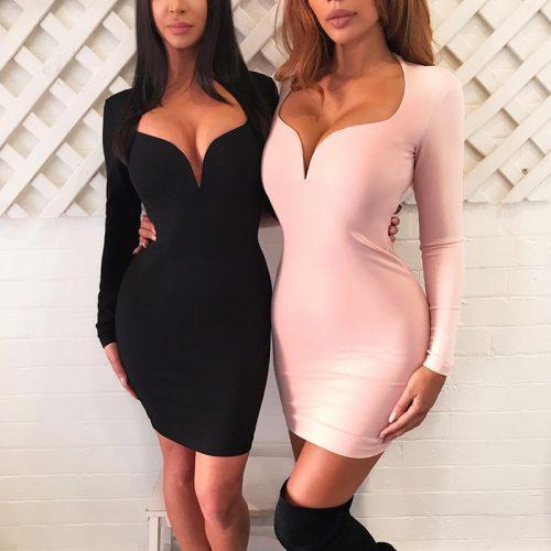 Sexy V Neck Long Sleeve Bandage Dress K099 1