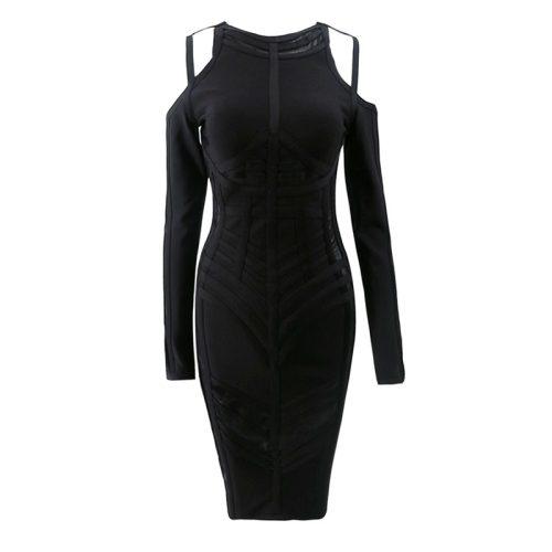 Stripe Perspective Cold Shoulder Bandage Dress K094 11