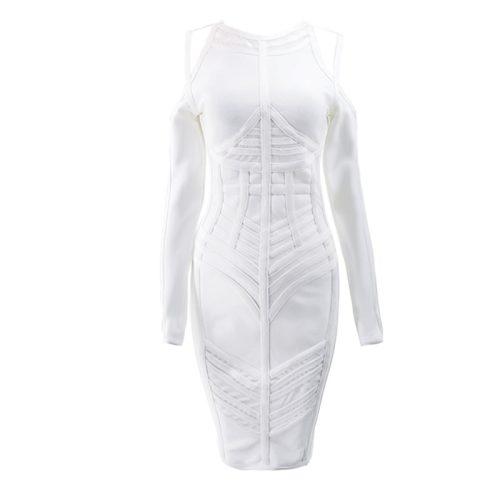 Stripe Perspective Cold Shoulder Bandage Dress K094 14