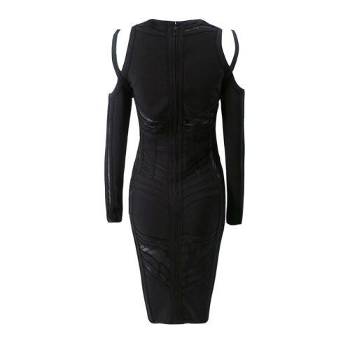 Stripe Perspective Cold Shoulder Bandage Dress K094 16