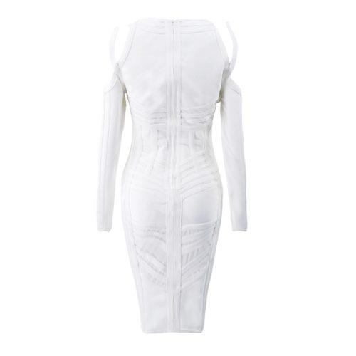 Stripe Perspective Cold Shoulder Bandage Dress K094 17