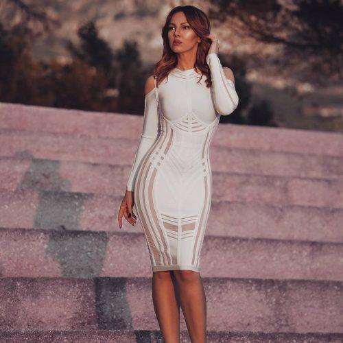Stripe Perspective Cold Shoulder Bandage Dress K094 3