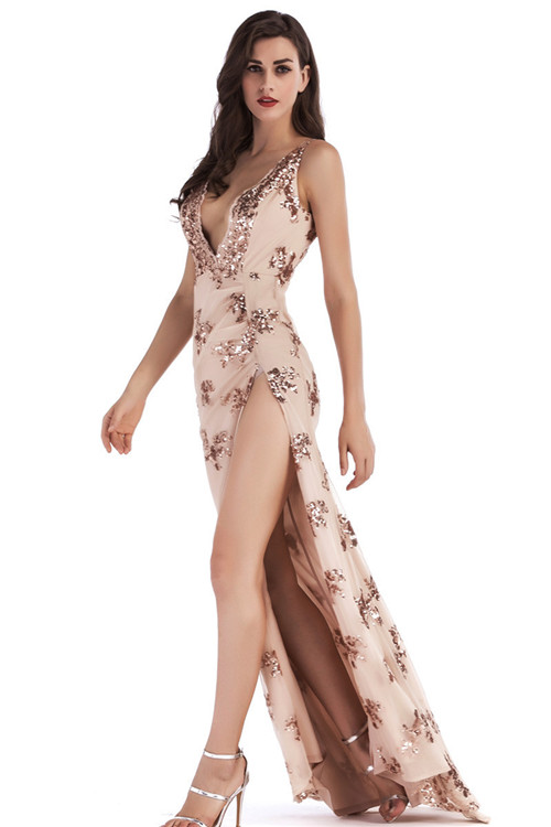 Flower Sequin Split Maxi Dress K121 2
