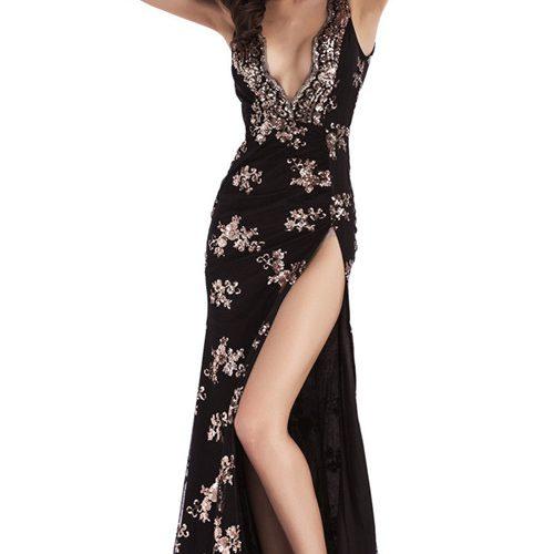 Flower Sequin Split Maxi Dress K121 8