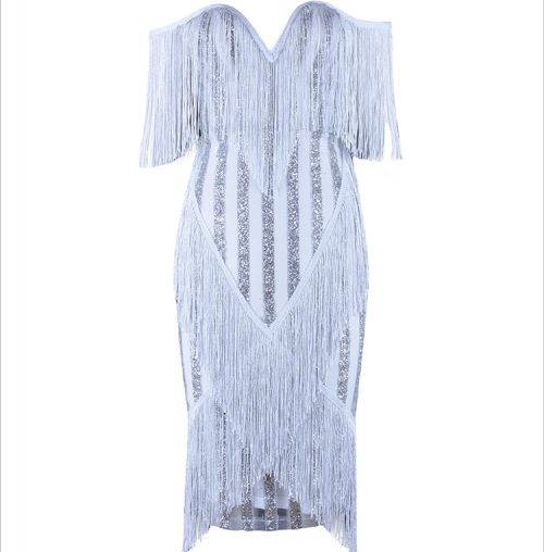 Off The Shoulder Tassel Sequin Dress K107 8
