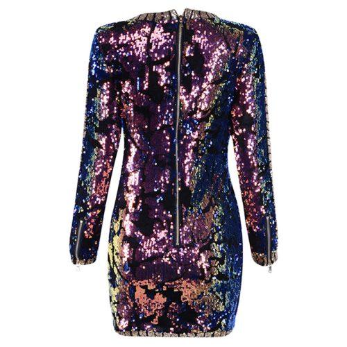 Sequin V Neck Mini Dress K11513