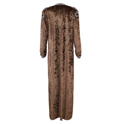 Velvet Beaded Floor Length Coat K126 20