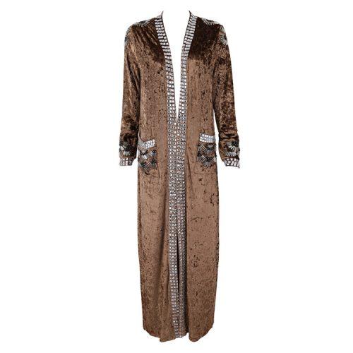Velvet Beaded Floor Length Coat K126 38