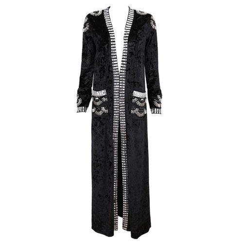 Velvet Beaded Floor Length Coat K126 8
