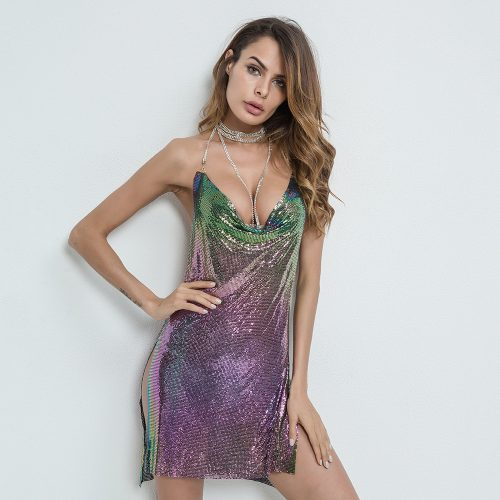 Colorful Metal Paillette Backless Sexy Dress K148 1