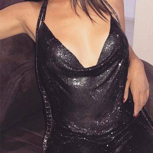 Metal Paillette Backless Sexy Dress K146 24