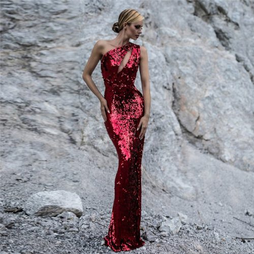 Red Sequin One Shoulder Sleeveless Maxi Dress K133 3