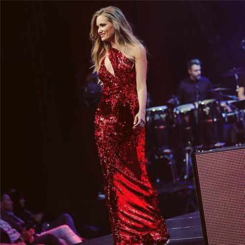 Red Sequin One Shoulder Sleeveless Maxi Dress K133 4