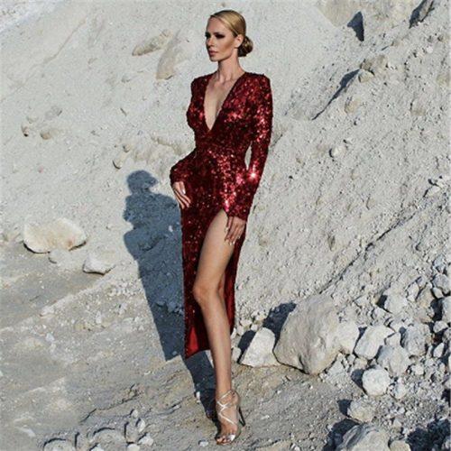 Red Split V Neck Long Sleeve Maxi Dress K134 2 副本