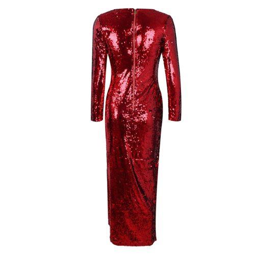 Red Split V Neck Long Sleeve Maxi Dress K134 5