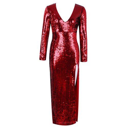Red Split V Neck Long Sleeve Maxi Dress K134 7