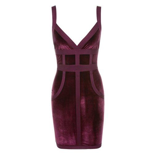 Strap Bandage Stripe Cross Velvet Bodycon Dress K139 8