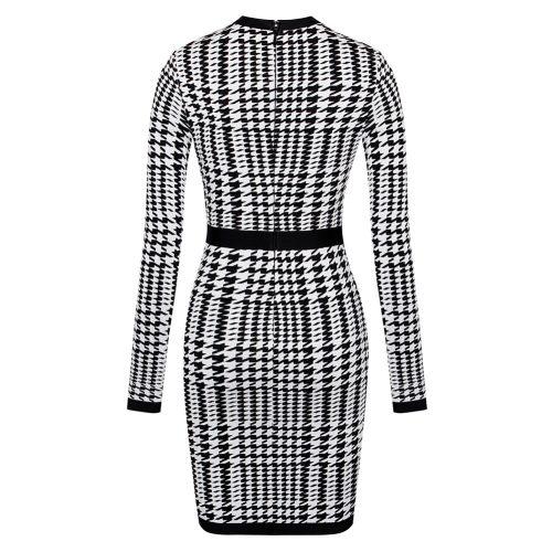 Black White Figure Mesh Hollow Bandage Dress K166 2