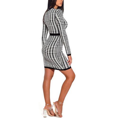 Black White Figure Mesh Hollow Bandage Dress K166 8