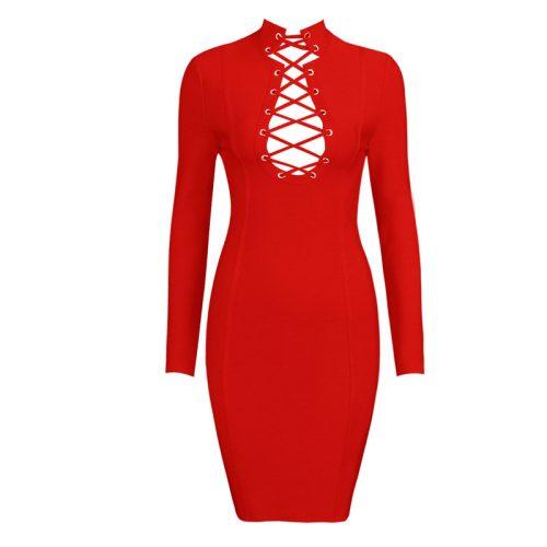 Lace Up V Neck Bandage Dress K168 5