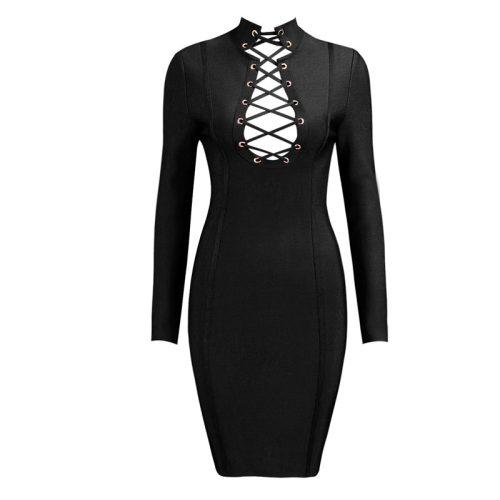Lace Up V Neck Bandage Dress K168 7