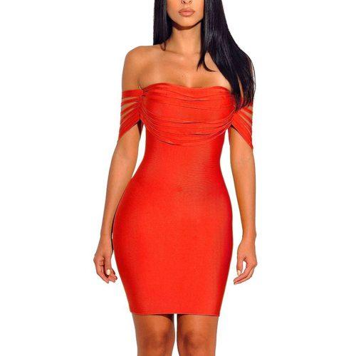 Line Off The Shoulder Bandage Dress K164 19