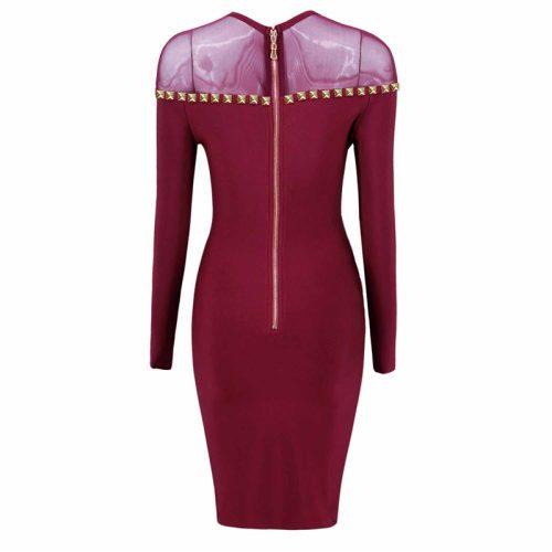 Studded Mesh Neck Bandage Dress K16812